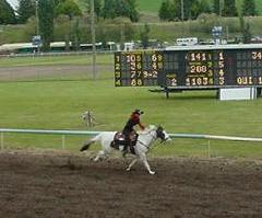 Amanda and Windy galloping the track.